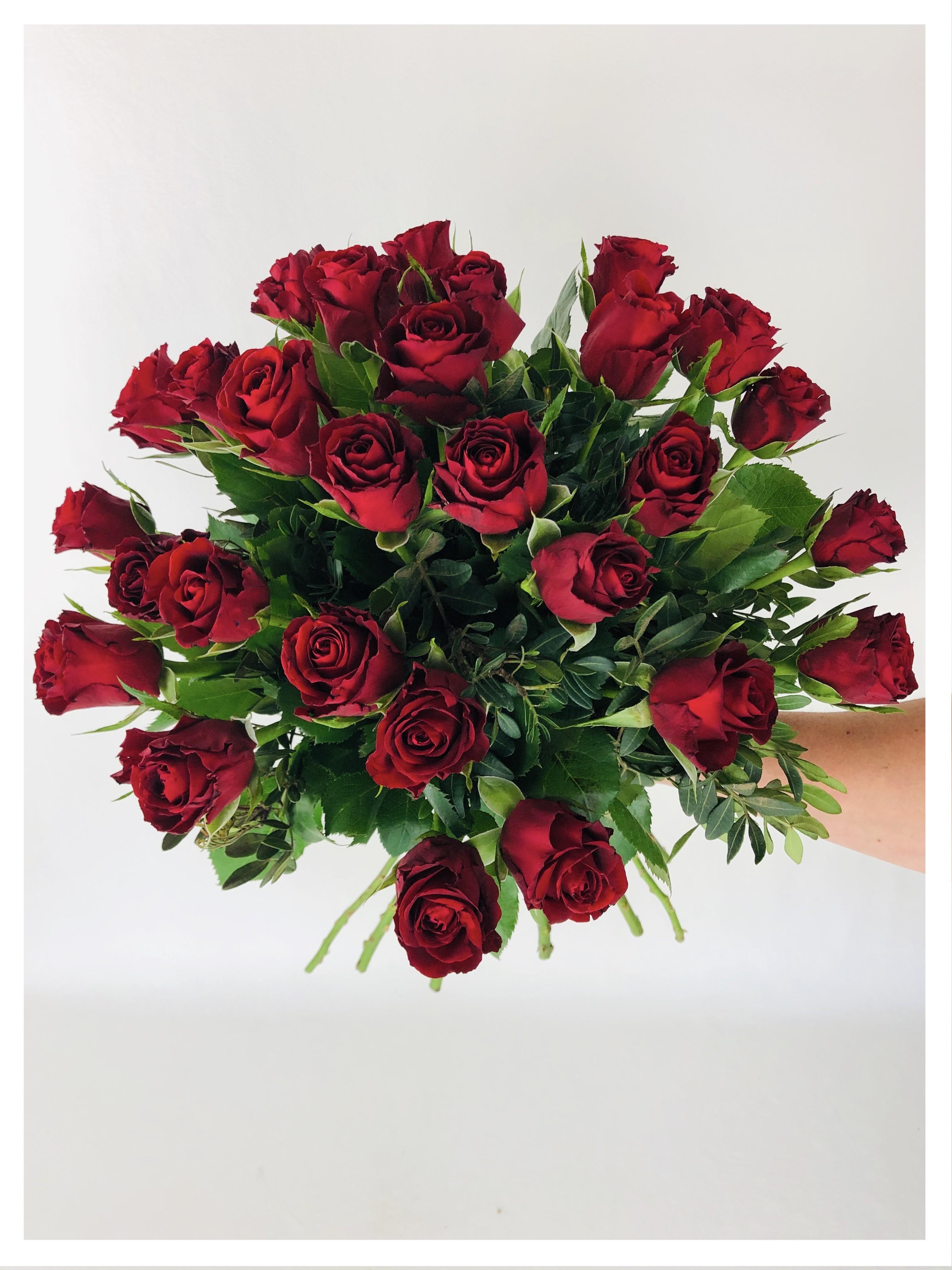 Bouquet rond - roses rouges